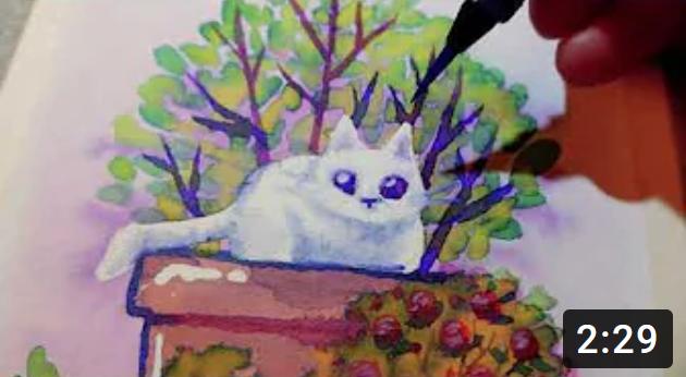 Chat dans une plante